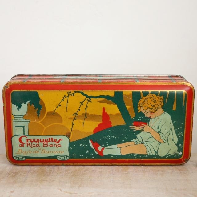 フランス アンティーク ビスケット缶 Croquette de Riza Bana