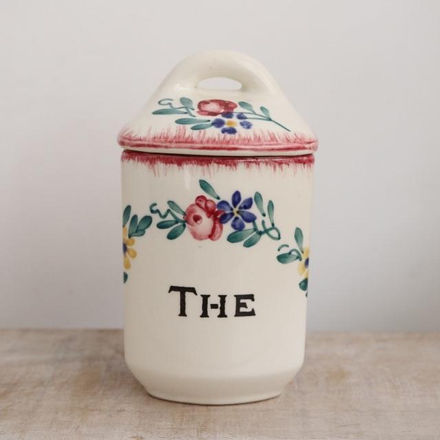 アンティーク キャニスター THE 紅茶 フランス サルグミンヌ製 DIEPPE SARREGUEMINES