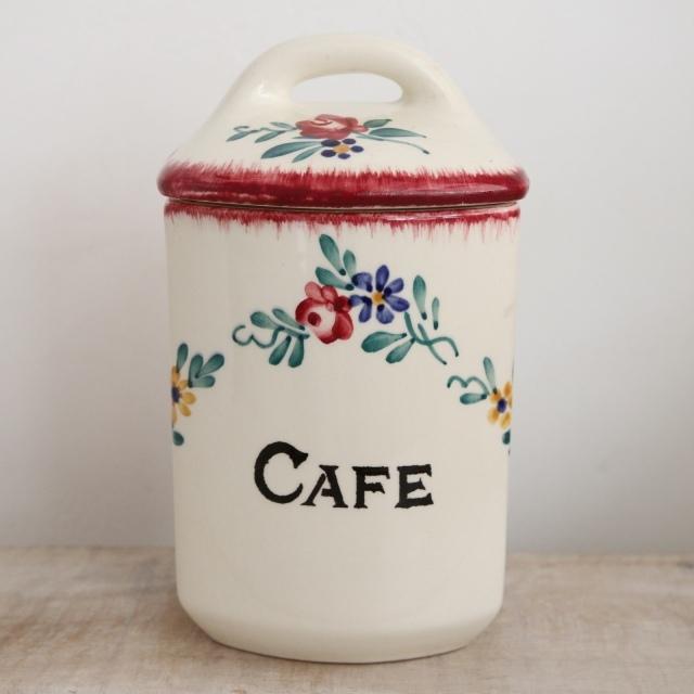 アンティーク キャニスター CAFE コーヒー フランス サルグミンヌ製 DIEPPE SARREGUEMINES