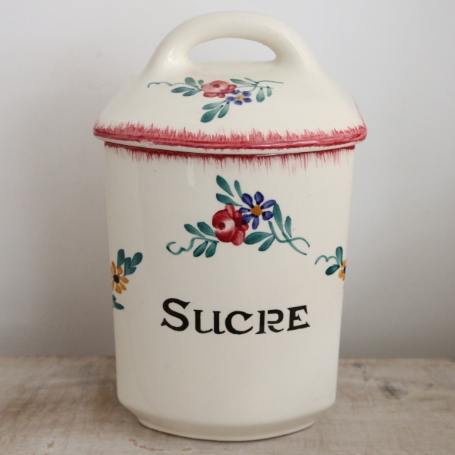 アンティーク キャニスター SUCRE 砂糖 フランス サルグミンヌ製 DIEPPE SARREGUEMINES