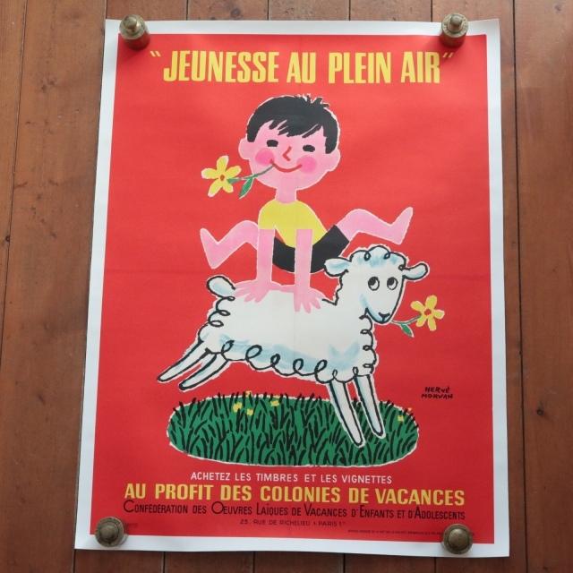 エルベ モルバン ビンテージポスター 1966年 Jeunesse au plein air Herve Morvan