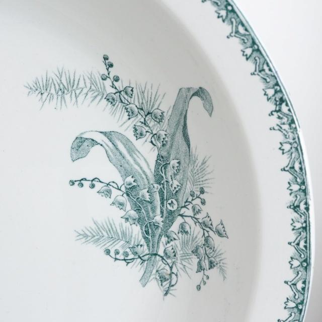 アンティーク 大皿 深皿 スズラン フランス サンタマン製 MUGUET ST.AMAND AMANDINOISE