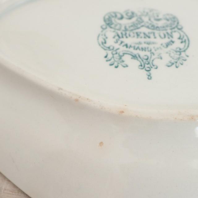 アンティーク ラヴィエ オーバル皿 ARGENTON フランス サンタマン製 ST.AMAND