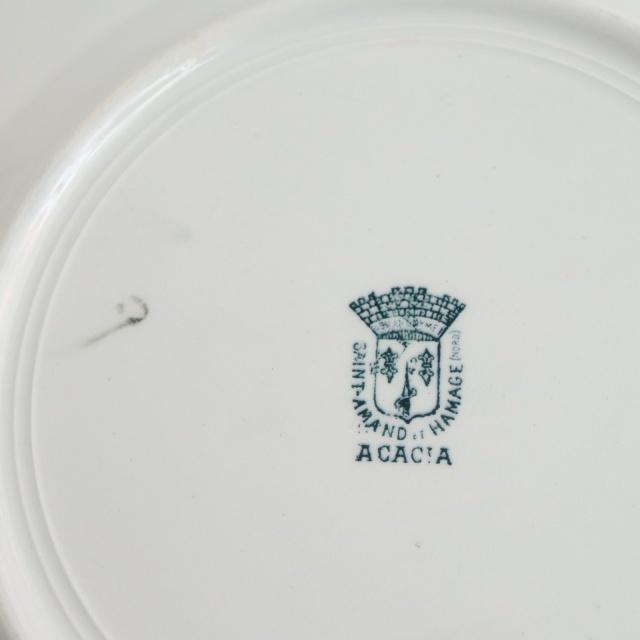 アンティーク プレート 皿 ACACIA フランス サンタマン製 SAINT AMAND HAMAGE