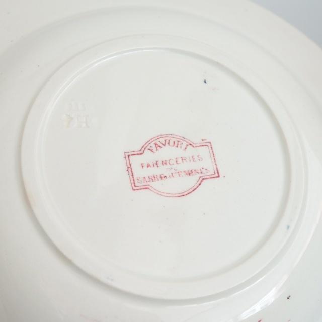 アンティークプレート ファヴォリ 深皿 フランス サルグミンヌ製 FAVORI SARREGUEMINES
