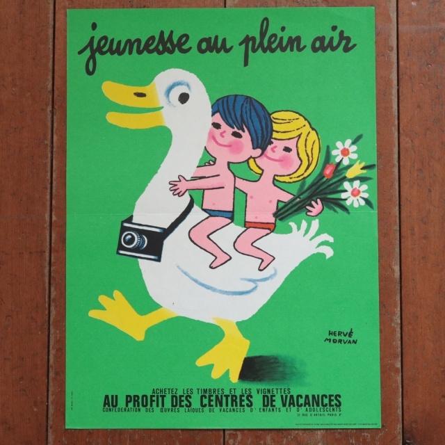 エルベ モルバン ビンテージポスター Jeunesse au plein air 1970年 Herve Morvan