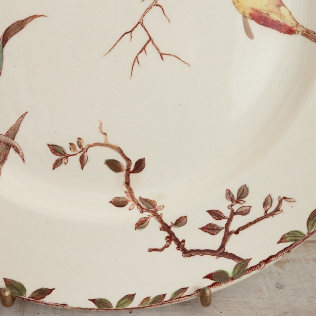 アンティーク プレート 花と小鳥 OXFORD フランス ショワジールロワ製 CHOISY LE ROI