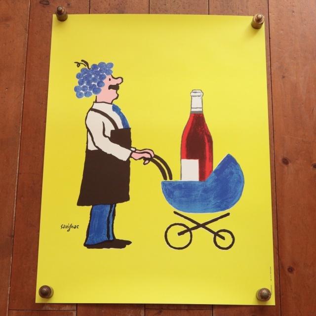 サヴィニャック ボジョレー・ヌーヴォー ヴィンテージポスター Savignac Buvons ici le Vin Nouveau