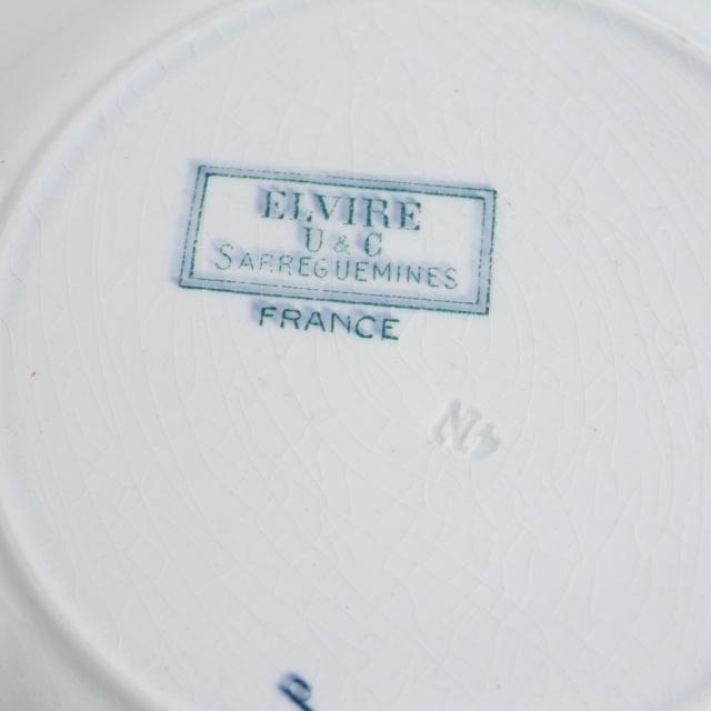 アンティークプレート 深皿  ELVIRE フランス サルグミンヌ製 U&C SARREGUEMINES