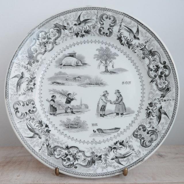 アンティーク プレートRebus  デザート皿 フランス ショワジールロワ製 CHOISY LE ROI