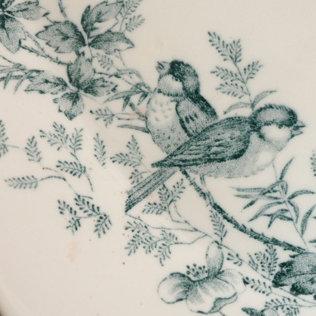 アンティーク ラヴィエ 小鳥 オーバル皿 MIGNON フランス ロンウィー製 LONGWY
