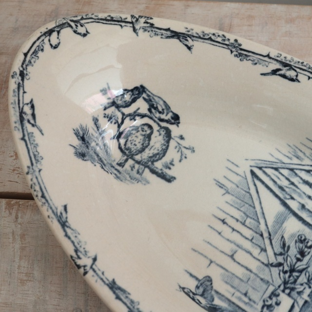 アンティーク ラヴィエ 小鳥 オーバル皿 フランス ショワジールロワ製 CHOISY LE ROI