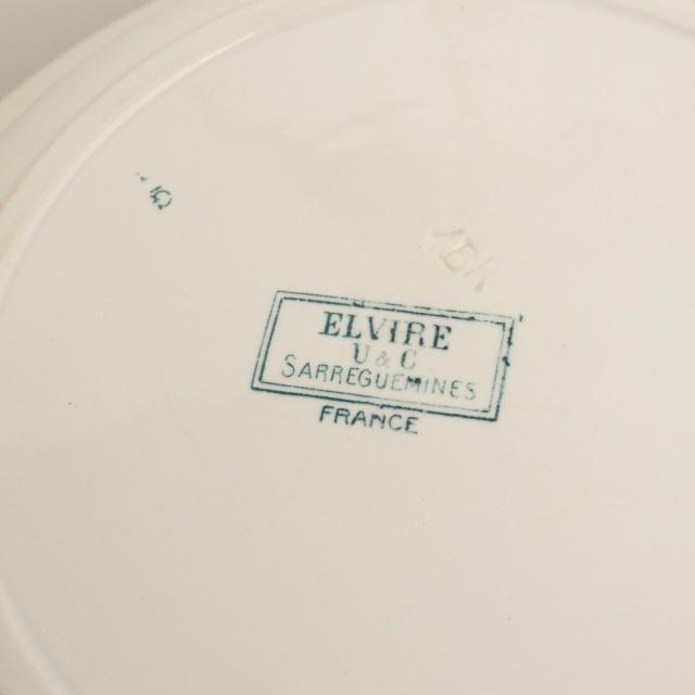 アンティークプレート 大きな深皿  ELVIRE フランス サルグミンヌ製 U&C SARREGUEMINES