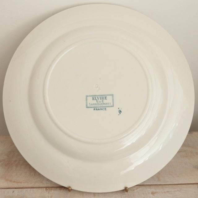 アンティークプレート 大皿  ELVIRE フランス サルグミンヌ製 U&C SARREGUEMINES