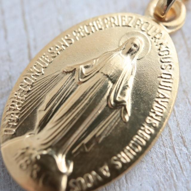 フランス製 不思議のメダイ 17mm ヴェルメイユ シルバーギルド スターリング シルバー925 銀+18金+24金