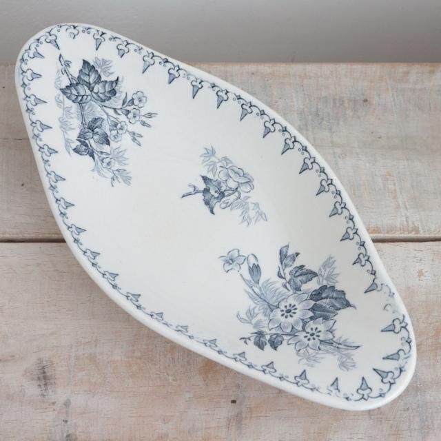 アンティーク ラヴィエ オーバル皿 フランス サルグミンヌ製 FLORE U&C SARREGUEMINES