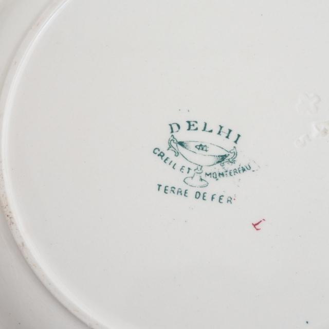アンティーク プレート アンティーク皿 DELHI フランス クレイユモントロー製 Creil Montereau