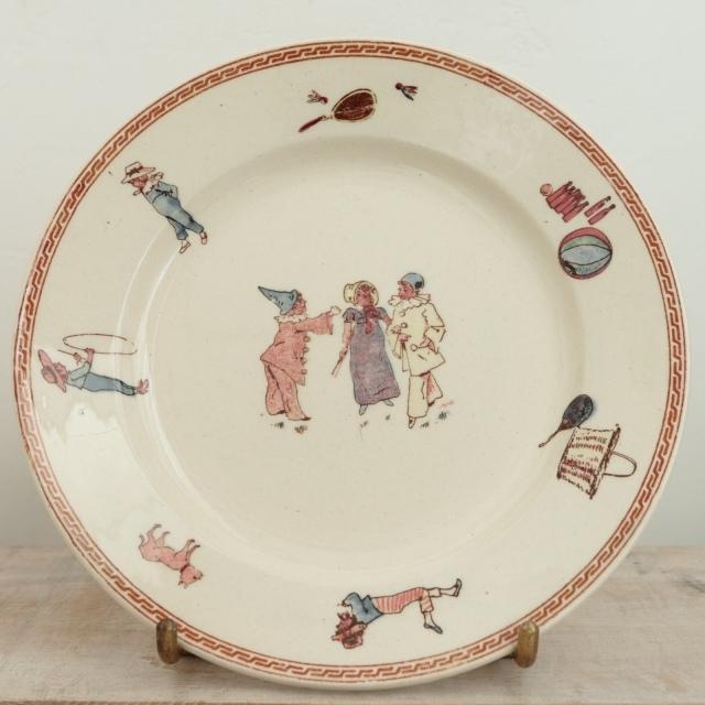 アンティークプレート 小皿 アンファン フランス サルグミンヌ製 U&C SARREGUEMINES