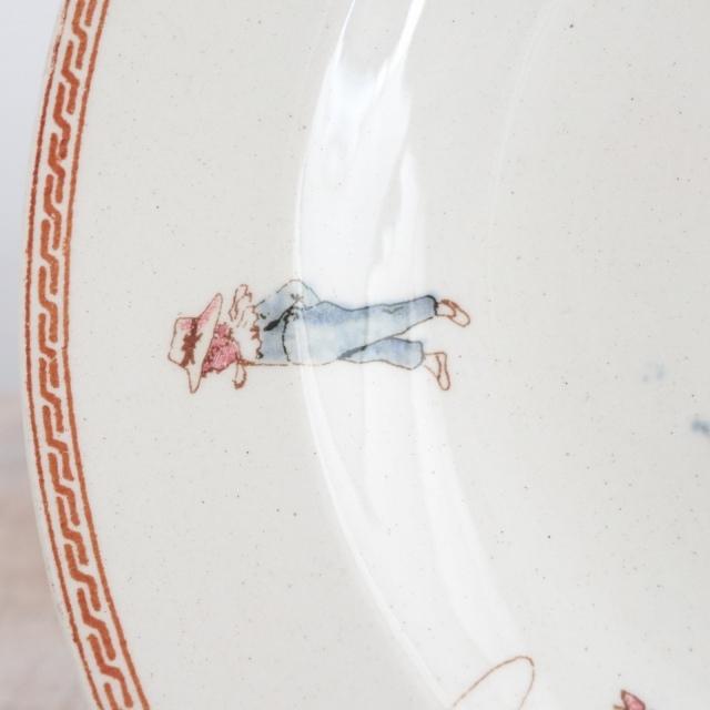 アンティークプレート 小さな深皿 アンファン フランス サルグミンヌ製 U&C SARREGUEMINES