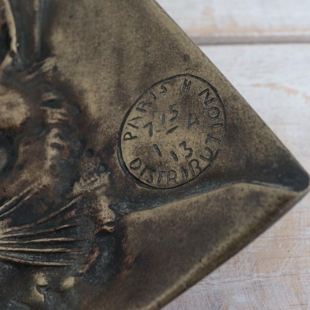 フランス アンティーク ネコのトレー ブロンズ製
