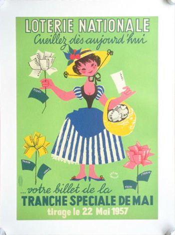 LOTERIE NATIONALE 1957 ビンテージポスター