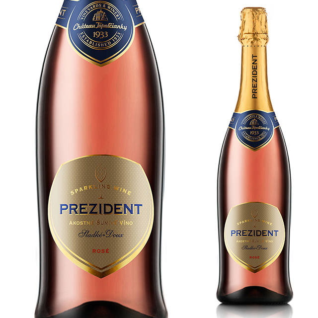 【スロバキアワイン専門】プレジデント・ロゼ・ドゥー750ml 《Prezident Rose Doux》 [Topolcianky] 泡/ロゼ・甘口【プレゼント包装可能/熨斗等の対応可能】