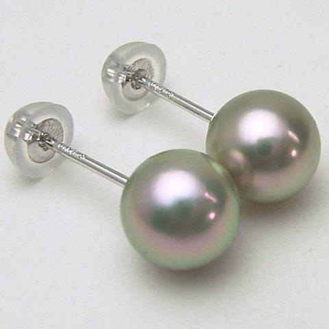 Pt900/K18/K14WGアコヤ真珠ピアス(ブルー、グレー系)(SVイヤリング、チャーム)【6.5mm-7mm】ewm-5800【メール便送料無料】(あこや本真珠 アコヤ本真珠 あこや真珠 黒真珠 和珠 パールピアス 本真珠 パール 直結 18金 プラチナ900 ピアス イヤリングもOK)