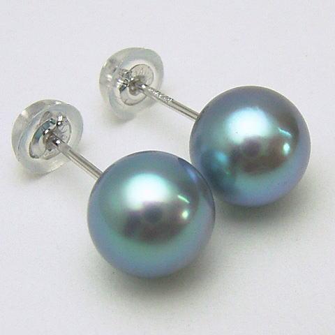 K18/K14WGアコヤ真珠ピアス(ブルー、グレー系) (SVイヤリング、チャーム)【7mm-7.5mm】 ewm-5802 【メール便送料無料】(あこや本真珠 アコヤ本真珠 あこや真珠 黒真珠 和珠 パールピアス 本真珠 パール 直結 18金 )