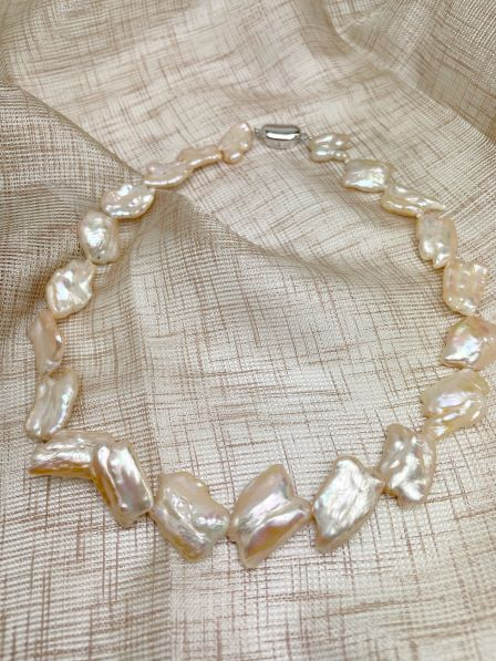 淡水真珠オリジナルネックレス【ケシ18mm-25mm】 【送料無料】 mtv-2007 (淡水パール 淡水真珠 ピンククリーム)