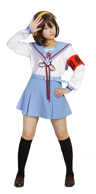 涼宮ハルヒの憂鬱 長袖 制服 豪華8点セット カチューシャ 腕章5種