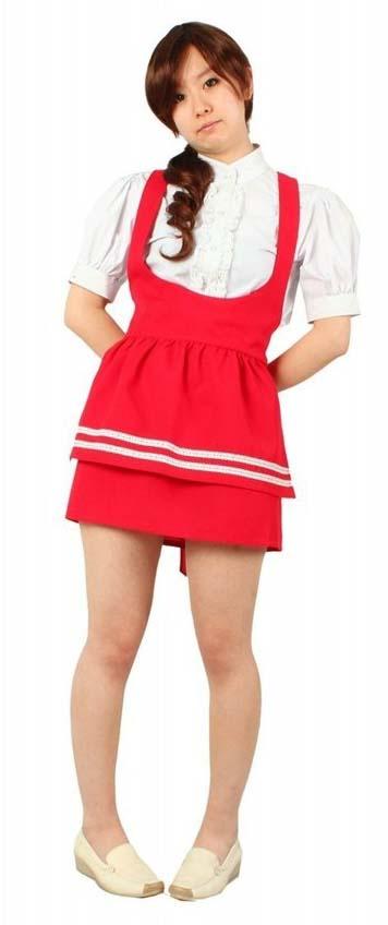 アンミラ 制服 コスプレ衣装セット  赤  ウエイトレス メイド服