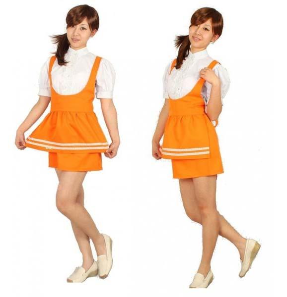アンミラ 制服 コスプレ衣装セット  オレンジ  ウエイトレス メイド服
