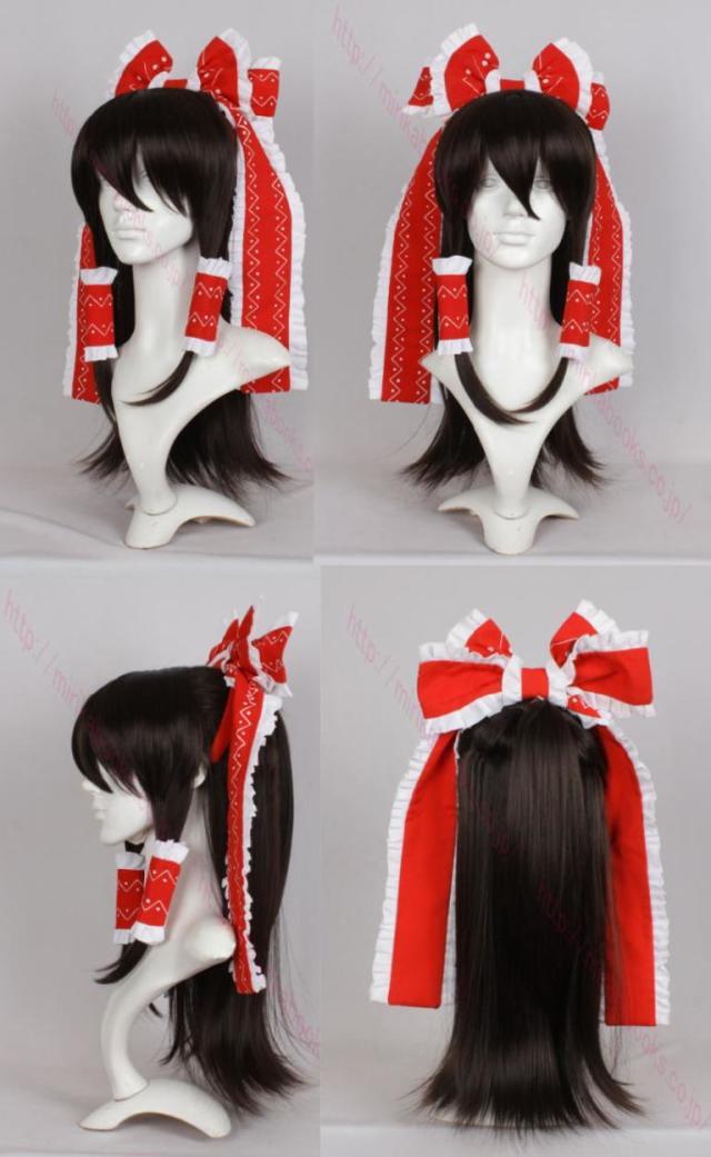 東方Project 博麗霊夢 カチューシャ・髪飾り付き コスプレ ウィッグ  専用コーム・ヘアネット おまけ