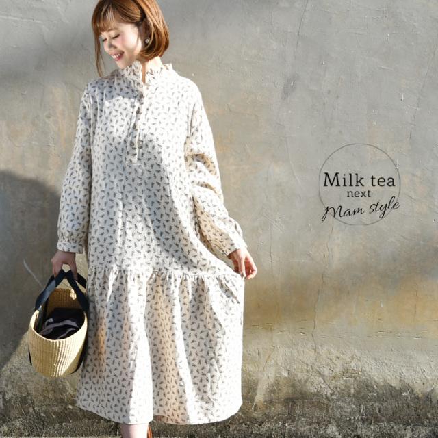 <Milk tea next>フランネルコットン・ミニフラワーワンピース(綿100%)