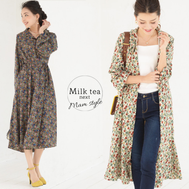 <Milk tea next>ヴィンテージ風・3wayフラワーワンピース