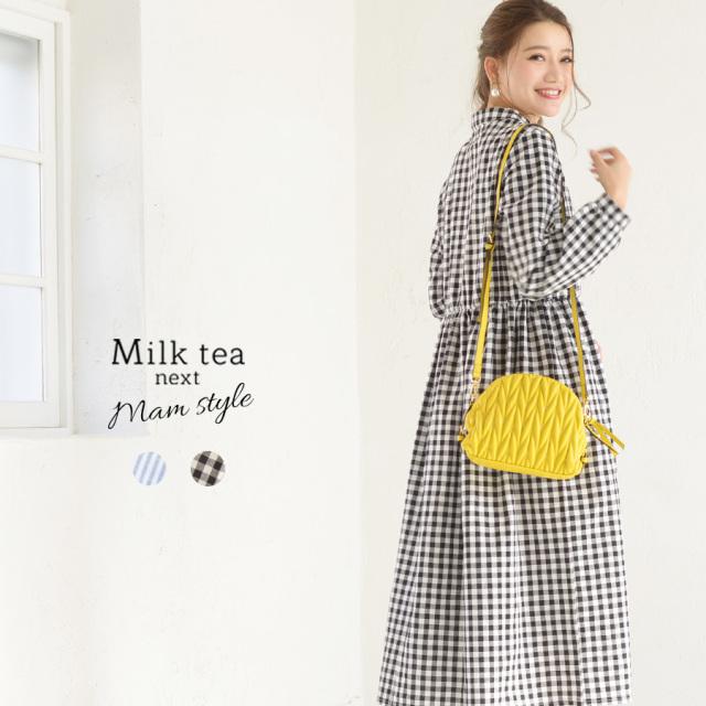 <Milk tea next>スタンドカラー・コットンパフィーワンピース