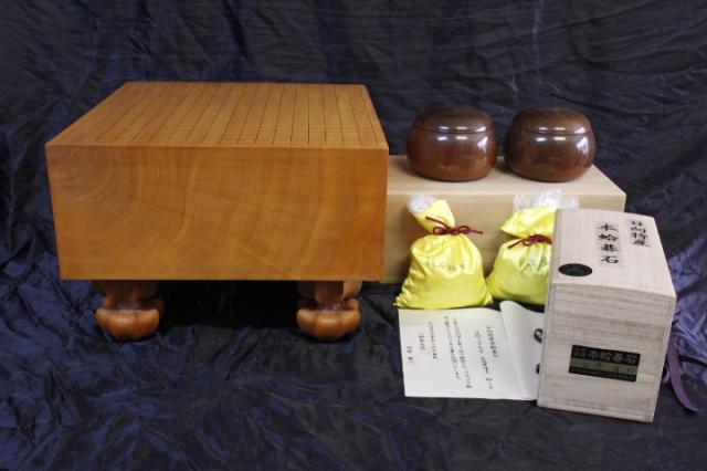 日向産本榧6寸柾盤+日向産蛤碁石+本桑碁器のセット (SET-19004)