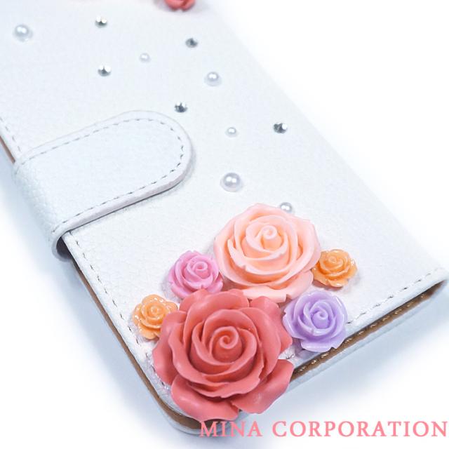 スマホケース 手帳型 カバー 手帳型ケース フラワー 花 バラ 薔薇 パール クリスタル