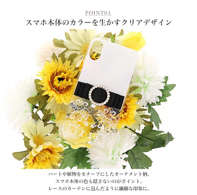 クリア ブラック ホワイト 花柄 リボン 全機種対応 スマホケース ハードケース ハードカバー クリアケース