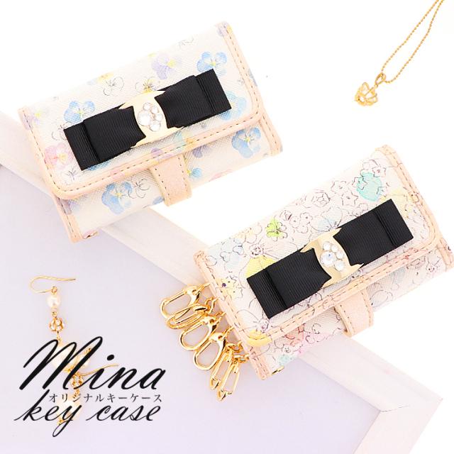 パンジー 花柄 リボン パール キーケース 6連キーリング カードポケット