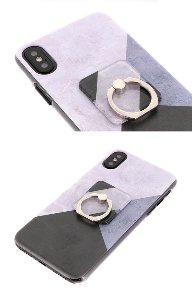 大理石柄 スマホリング リング リング付き ハードケース 全機種対応 ケース スマホ カバー スマホケース