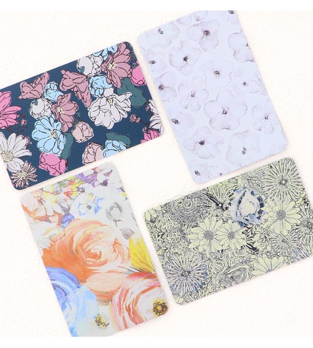 ステンレスミラー カード型ミラー カード 花柄 フラワー