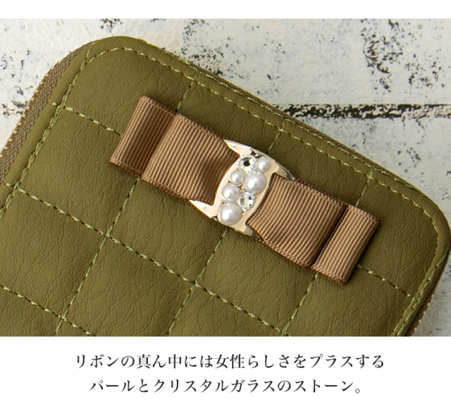 ミニ財布 小さい財布 カードケース ウォレット リボン ビジュー パール
