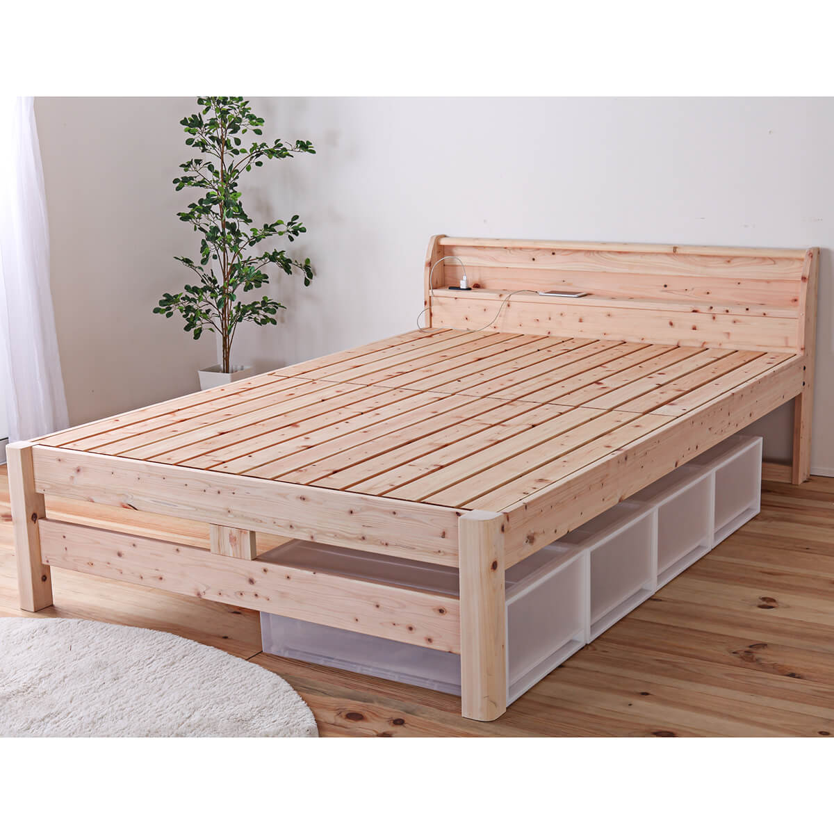 すのこベッド 檜 国産ひのきを使った頑丈すのこベッド  シングル セミダブル ダブル
