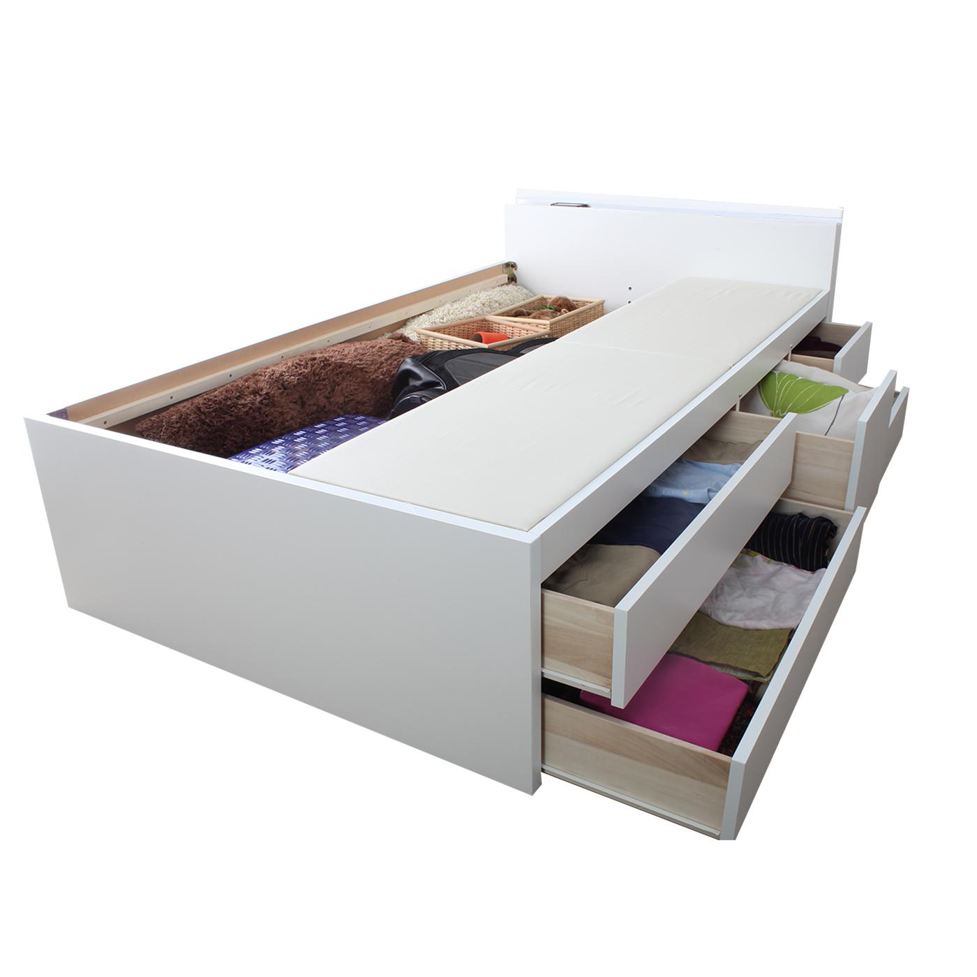 収納ベッド 日本製フレーム  | 棚コンセント付五杯収納ベッド