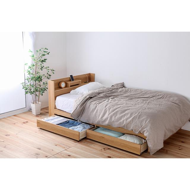 収納ベッド  二杯引き出し フレームのみ 日本製フレーム 大量収納  スマートフォンがおける便利な棚付