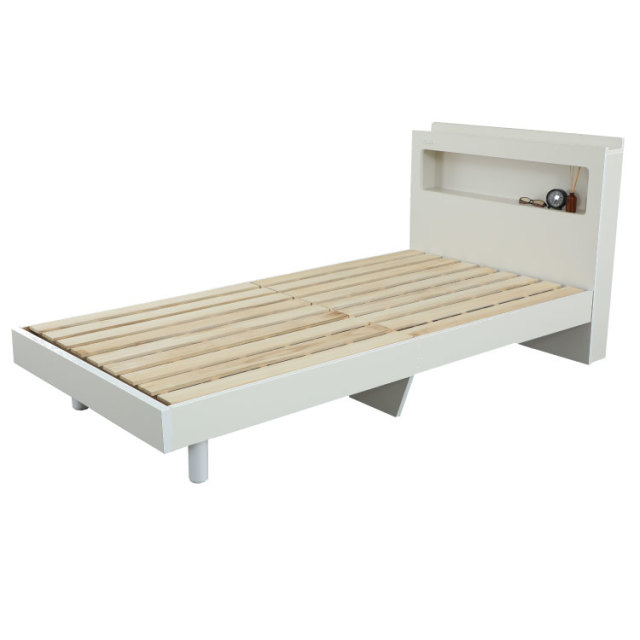 LED照明 棚付き ベッド日本製フレーム シングル、セミダブル