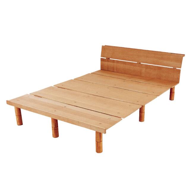 シンプルデザイン 高さ調整機能付き| ステージすのこ脚付きベッド コンセント付き 選べるカラー