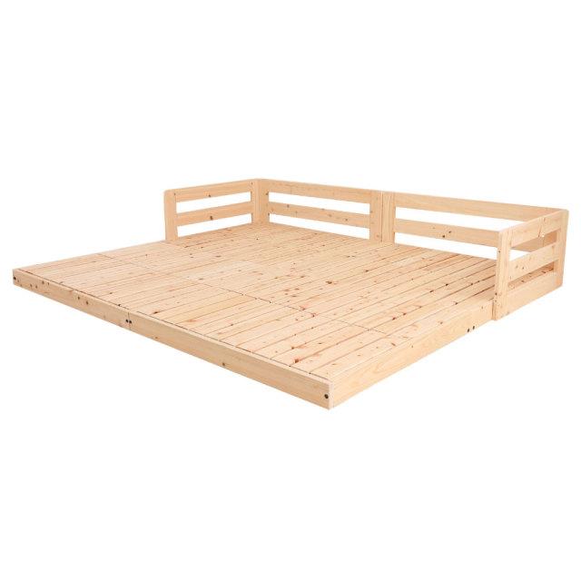 日本製 国産ヒノキ ぴったり連結 川の字 すのこベッド