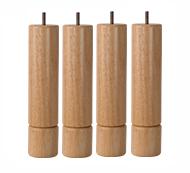 〔単品用〕脚付きマットレスベッド用木脚26cmナチュラル4本セット(1台分)
